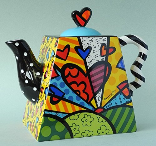 Romero Britto Ceramic 50 ounce Teapot, A New Day Design