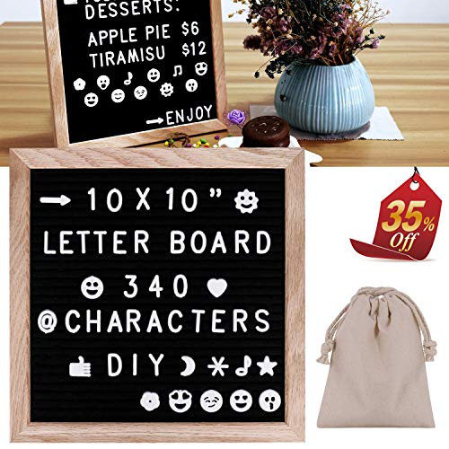 - Felt Letter Board,10x10'' Black Changeable Letter Boards with White 340 Letters & Symbols & Emoji's & Fun Images - Oak Frame for Your Restaurant/Office Or Home