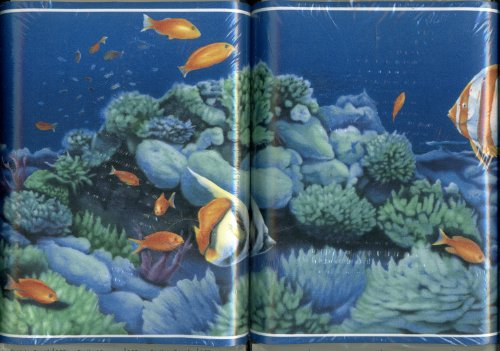 Norwall Ocean Coral Reef Wallpaper Border Scene - Pre-pasted, Scrubbable, Strippable, Easy to Apply - 5 Yards By 7 Inches (Scene Wallpaper Beach Border)