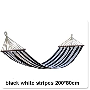 Portable Camping Garden Beach Travel Hammock Outdoor Ultralight Colorful Casual Swing Bed Rollover-Proof Canvas Stick Hammock Black White Stripes
