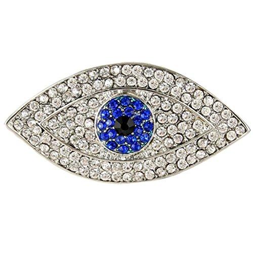 EVER FAITH Lucky Evil Eye Blue Austrian Crystal Brooch Pin