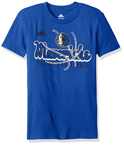 fan products of NBA Girls 7-16 Dallas Mavericks Middle Basketball Short Sleeve Tee-Royal-S(7-8)