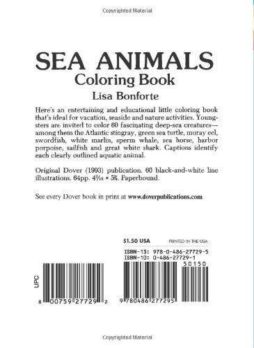 Sea Animals Coloring Book Dover Little Activity Books Lisa Bonforte 9780486277295 Amazon
