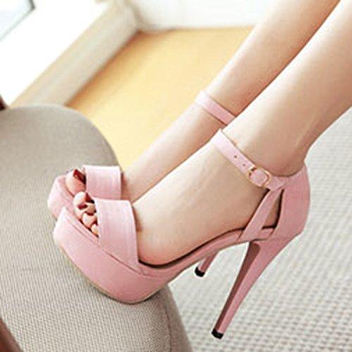 Aisun Womens Sexy Buckled Stiletto Hoge Hakken Jurk Open Teen Enkelband Platform Sandalen Schoenen Roze