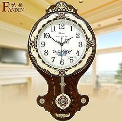 European Fashion King Size Living Room Quiet Antique Clocks Contemporary Wall Clock Bedroom Rock Quartz Clock,16 Inch,New 18-2 Café