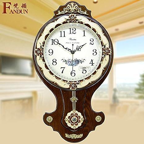 CGGHY - Reloj de pared moderno y grande para salón o dormitorio antiguo, cuarzo, 40 cm, color café: Amazon.es: Hogar