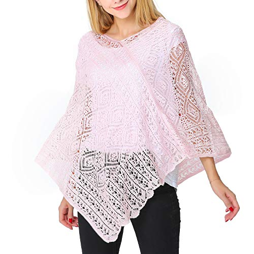 Puli V-neck Pullover Crochet Poncho Ultra Soft Kintted Shawl Cover Up Cape Pale Pink
