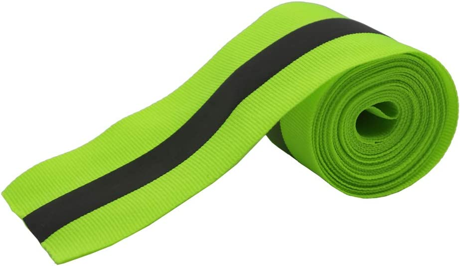 Leen4You Fabric Reflective Safety Tape Strip Vest Warn Caution Trim Strip Sew on Lime Synth 3 Meters - Green