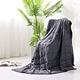 Syrinx Cooling Weighted Blankets 15lbs, 60''x80'', Dark Grey for Adult, 100% Breathable Cotton with Glass Beads