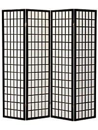 Legacy Decor 4 Panel Shoji Screen Room Divider Black