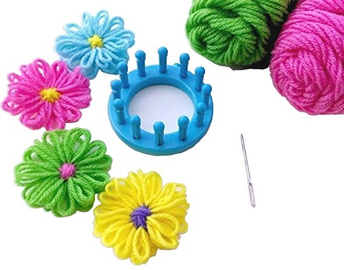 [Zetti Flower Loom Knitting Circle Needle Crafts Textile Set of 6] (Dog Costume Carrying Gift Video)