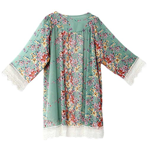 amazaramu_vivi Women's Sheer Chiffon Open Front Loose Tops Floral Print Puff Sleeve Kimono Cardigan Lace Blouse Women Crochet Sweaters Summer Cape Cloak Roll Linen (Emerald Green (Asia L=US M))