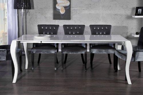 Casa Padrino Barock Esstisch Hochglanz Weiß mit Auszug 170/200/230cm - Esszimmer Tisch - Barock Möbel Modern