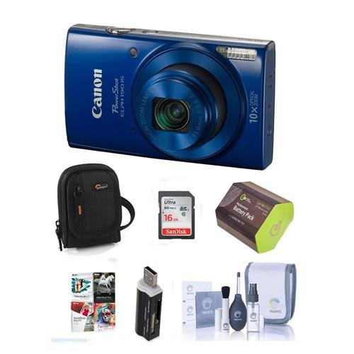 Canon PowerShot ELPH 190 IS 20MP Digital Camera, Blue - Bundle with 16GB Class 10 SDHC Card, Camera Pouch, Cleaning Kit, Lithium-Ion Battery Pack, Mini Multi-Card Reader, Software Package