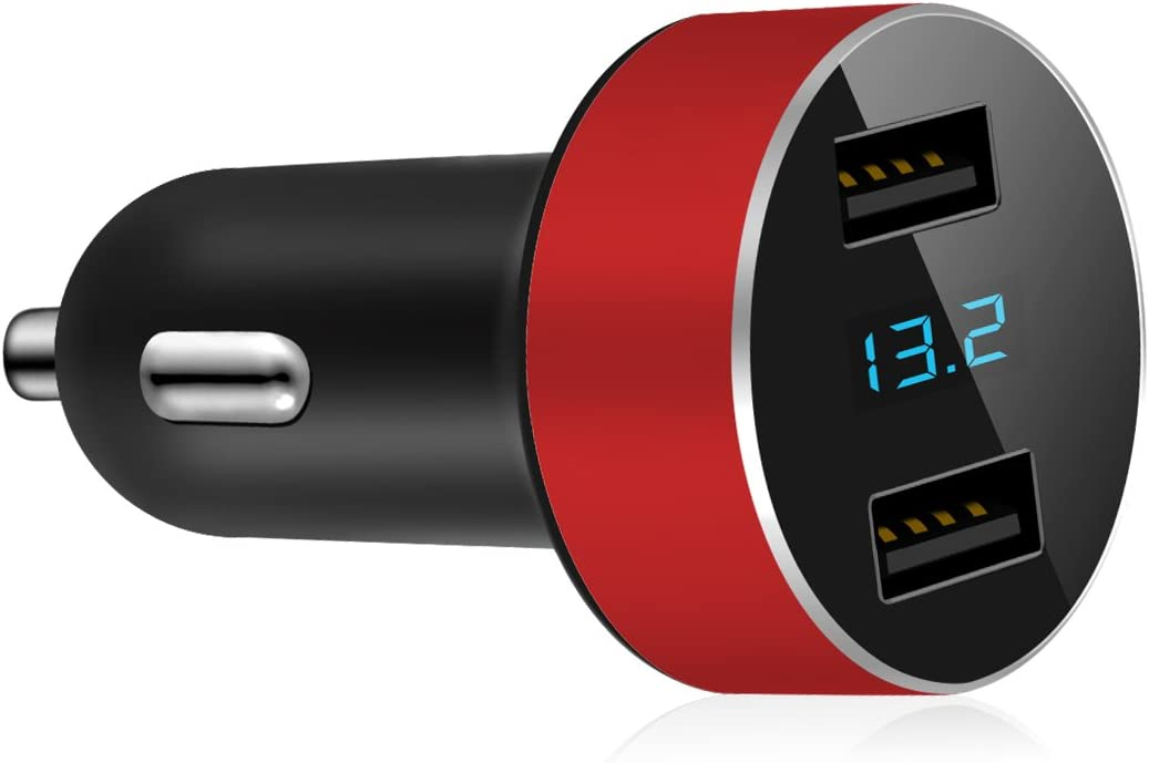 Dual USB Car Charger,4.8A Output,Cigarette Lighter Voltage Meter Compatible for Apple iPhone,iPad,Samsung Galaxy,LG,Google Nexus,USB Charging Devices,Red