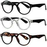 Reading Glasses 3 Pair Spring Hinge Professer Readers for Men and Women Fashion Glasses for Reading +2