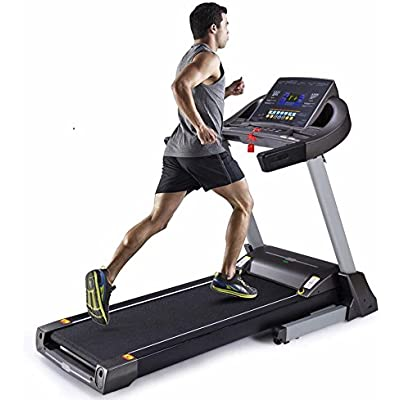 UMAY Smart Heavy Duty Running 7 Inch LCD Display Treadmill with Auto Incline,MP3&USB,Sound System,folding,with12 predefined programs(Black)