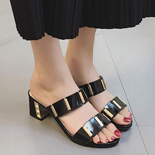 Talons à à à Noir Chaussures à Ouvert pour Talons Femmes Glissière Chaussures Sandales à Plateforme Bout Hauts Sandales JITIAN CxUHqwATW