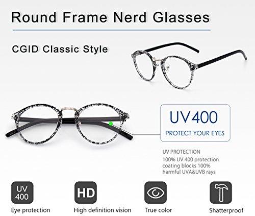 Lunettes d'écaille UV400 vintage à verres transparents CN65 CGID métallique monture inspirées à pont fqwxvX5X