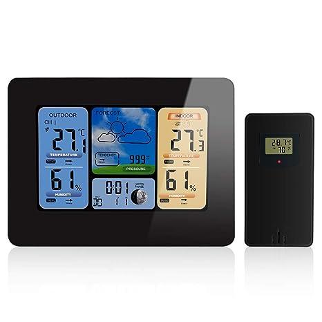 FOOSKOO Clock Relojes meteorológicos Estación Meteorológica LCD Inalámbrica Reloj de Pared Barómetro Termómetro Higrómetro Sensor Pronóstico