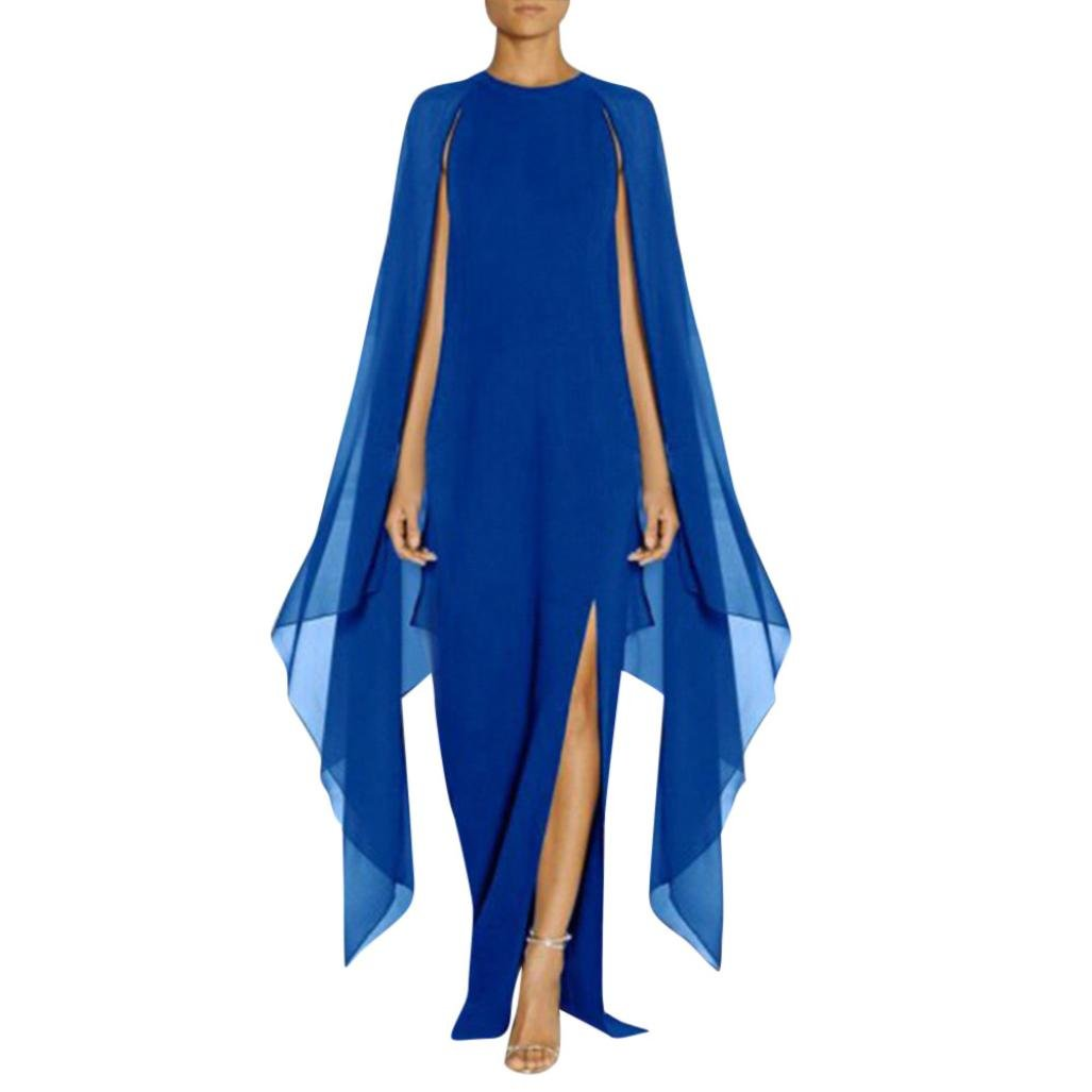 Jonerytime❤️ Women Long Cloak Split Dress Chiffon Stitching Party Dress (M, Blue) by Jonerytime