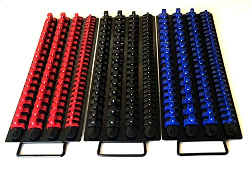 240pc SOCKET STORAGE TRAY RAIL RACK HOLDER SET 1/4 3/8 1/2 RED BLACK BLUE 17-1/2