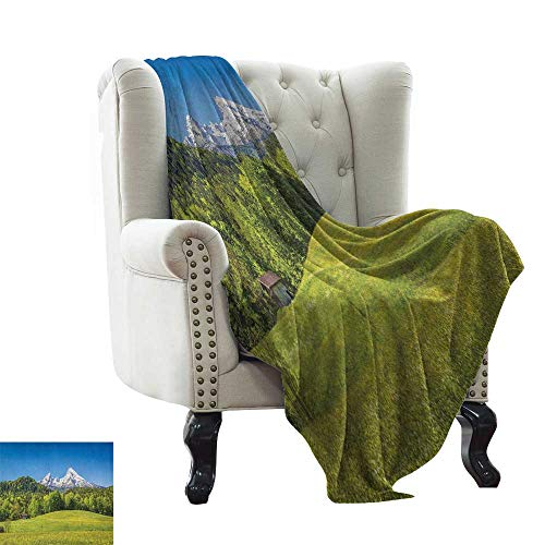 LsWOW Weighted Blanket for Kids Germany,Bavarian Alps Village of Berchtesgaden and Watzmann Germany, Sky Blue Fern Green Forest Green Blanket for Sofa Couch TV Bed All Season 35