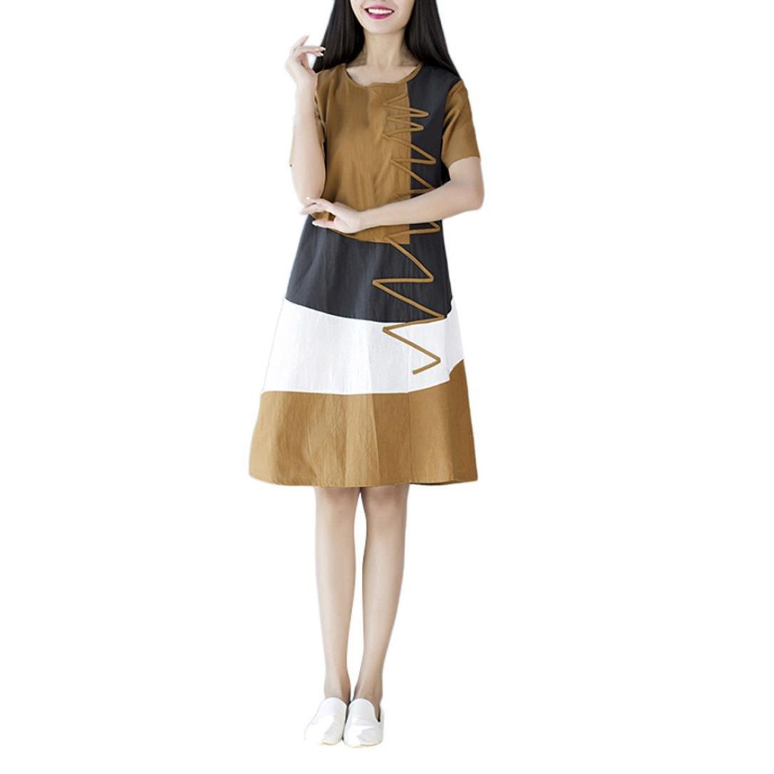 Anyren Women Casual O-Neck Boho Short Sleeve Cotton Linen Loose Knee Summer Beach Dress (Khaki, M)