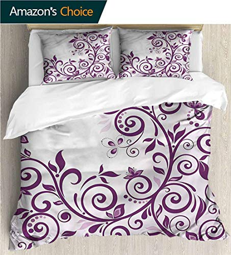 carmaxs-home 3 Pcs King Size Comforter Set,Box Stitched,Soft,Breathable,Hypoallergenic,Fade Resistant with 2 Pillowcase for Kids Bedding-Purple Vine Ivy Branches Swirls (80