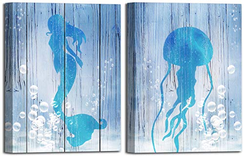 Mermaid and Jellyfish Wall Art for Bedroom Wall Decoration 12×16Inch Set of 2 Panels Living Room Bathroom Sea Animal Wall Decor Framed Blue Sea Canvas Wall Pictures Home Decor Artwork