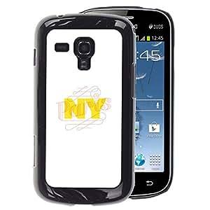 A-type Arte & diseño plástico duro Fundas Cover Cubre Hard Case Cover para Samsung Galaxy S Duos S7562 (Nyc New York City Yellow White)