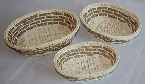 Rt450181-3 Wickerrattan Bread or Storage Baskets in Cream and Brown