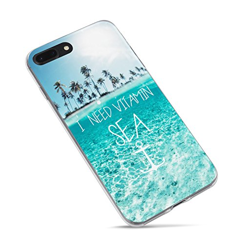 iPhone 7 Case,iPhone 8 Case,Summer Girls Tropical Beach Quotes and Saying I Need Vitamin Sea Palm Tree Blue Clean Ocean Beach Hawaii Aloha Summer Clear Rubber Side Case for iPhone 7/iPhone 8 ()
