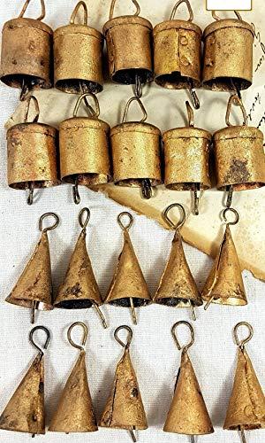 "Mango Gifts Handmade Metal Vintage Bells 2"" H (Set of 20 Pieces)"