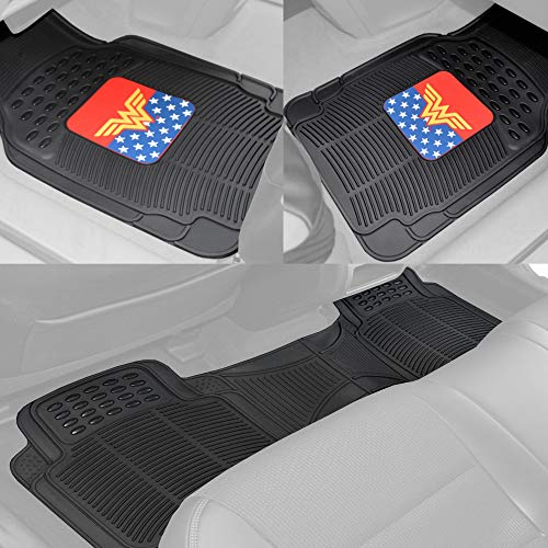 BDK DC Comics – Wonder Woman Car Floor Mats 3pc Set – Logo on Heavy Duty Rubber