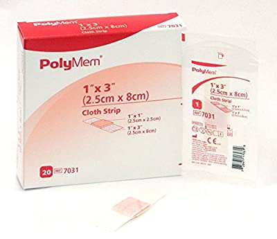 PolyMem Cloth Strip Wound Dressing, Sterile, Foam, 1' X 3' Adhesive, 1' X 1' Pad, 7031 (Box of 20)
