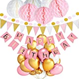 TopDeko Birthday Decorations for Girls, Happy Birthday Bunting Banner with 6PCS Honeycomb Balls, 8.5 Feet Triangle Flags Banner, 30pcs Pearl Balloons - Pink