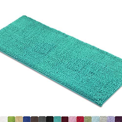 "Soft Turquoise 47x27.5/"" MAYSHINE Bathroom Rugs Shag Shower Bath Mat Runner"
