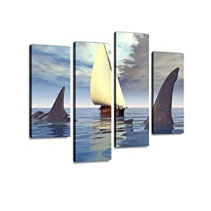 The Megalodon Shark Canvas Wall Art Hanging Paintings Modern Artwork Abstract Picture Prints Home Decoration Gift Unique Designed Framed 4 Panel