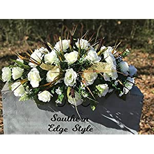 Winter Cemetery Saddle ~ Cemetery Grave Saddle ~ Headstone Flowers ~Cream Roses Cemetery Flowers ~Large Headstone Saddle 87