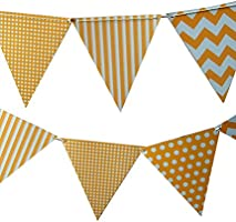 Quasimoon Orange Mix Pattern Triangle Pennant Banner by PaperLanternStore
