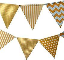 Quasimoon Orange Mix Pattern Triangle Pennant Banner by PaperLanternStore