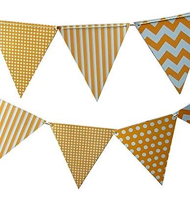 Amazon Com Quasimoon Orange Mix Pattern Triangle Pennant Banner By