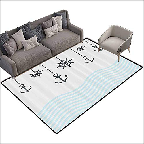 (Floor Mat Kitchen Long Carpet Anchor Decor Collection,Anchors with The Chains on Top of The Ocean Waves Be Strong in Difficulties Theme,Grey Blue 48
