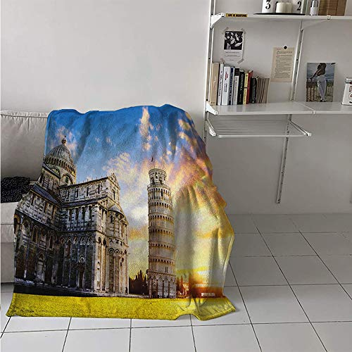 Digital Printing Blanket, Place of Miracoli Complex with The Leaning Tower of Pisa in Front Tourist Attraction, Print Image Thicken Blanket 62x60 Inch Multicolor