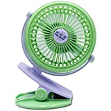 Fan Mini clip fan, mini portable 360 degree rotating rechargeable USB fan, desk, personal, travel, baby carriage, car back seat, outdoor camping - colour green