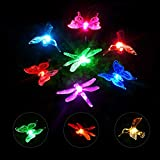 Garden Solar Lights Outdoor, OxyLED Solar Stake Light Hummingbird Butterfly Dragonfly, Solar Powered Garden Light, Multi-Color Changing Decorative Landscape Lighting for Garden Patio Lawn Yard, 6-pack