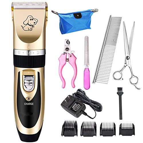 Dog Clippers Low Noise Pet Clippers Rechargeable Cordless Dog Trimmer Pet Grooming Tool Professional Dog Hair Trimmer with Comb Guides scissors Nail Kits for Dogs Cats and Other Animals