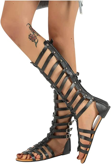 Hosamtel Knee High Sandals for Womens Gladiator Flat Lace-Up Open-Toe Ankle Strap Sandals Roman Shoes