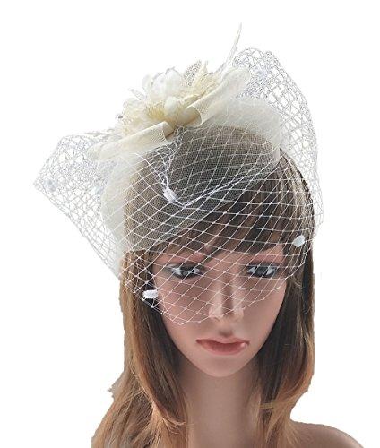 Women's Fascinator Clip Veil Cocktail Tea Party Church Hat Bridal Headpiece Beige